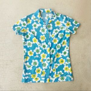 Vintage 70's Polyester Blue Flower Button Down Top